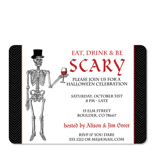 Eat, Drink And Be Scary Halloween Invitation