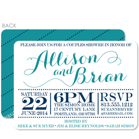 Elegant Script Couples Bridal Shower Invitation