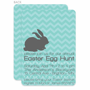 Aqua Chevron Easter Invitation