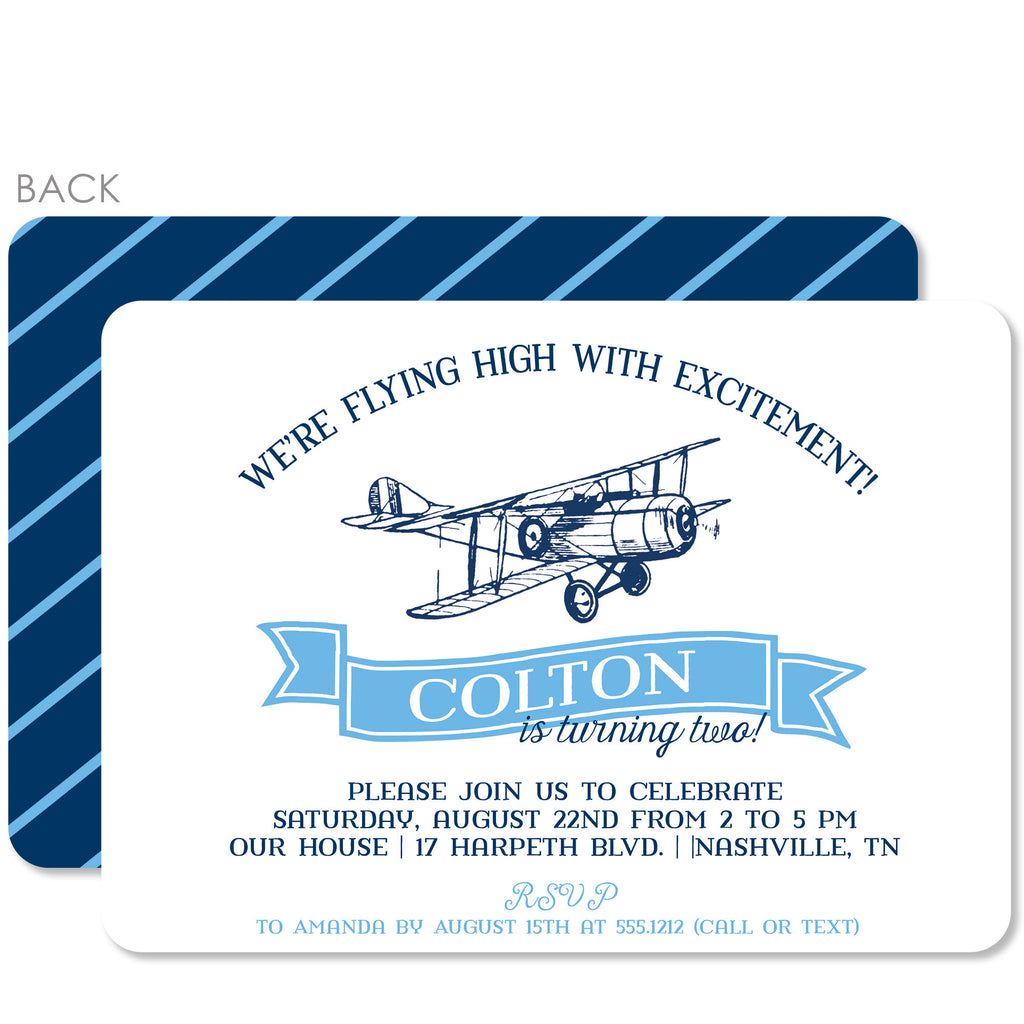 Vintage Airplane Birthday Invitation