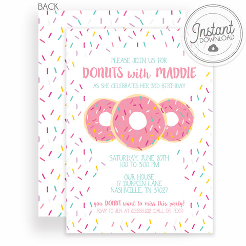Pink Donut with Sprinkles Birthday Invitation, DIY Editable Instant Download, Templett, PIPSY.COM