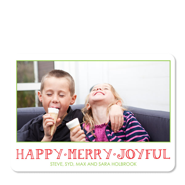 Happy Merry Joyful Holiday Photo Card