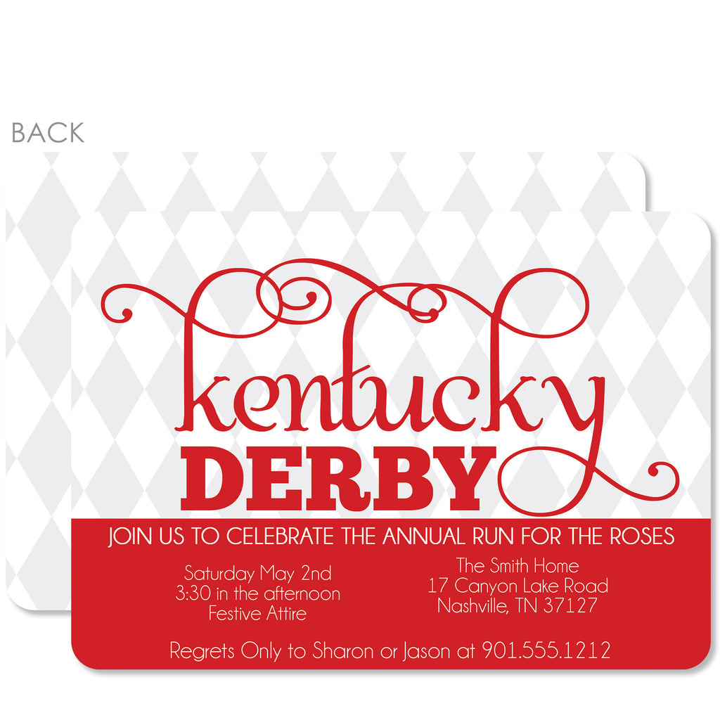 Harlequin Kentucky Derby Invitations