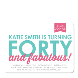 40 & Fabulous Party Birthday Invitation | Swanky Press | Front