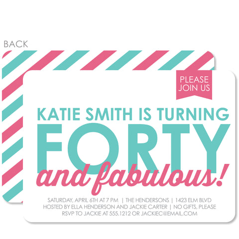 40 & Fabulous Party Birthday Invitation | Swanky Press | Adult Parties