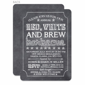 4th of July Invitation, Chalkboard, Red, White and Brew, PIPSY.COM
