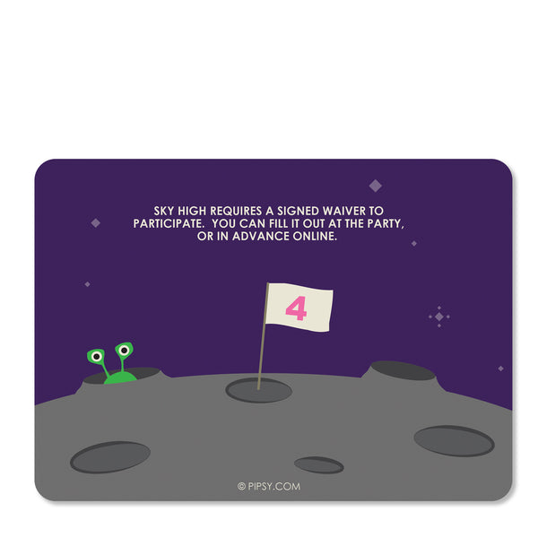 Astronaut Birthday Invitation (Purple) | Pipsy.com (back view)