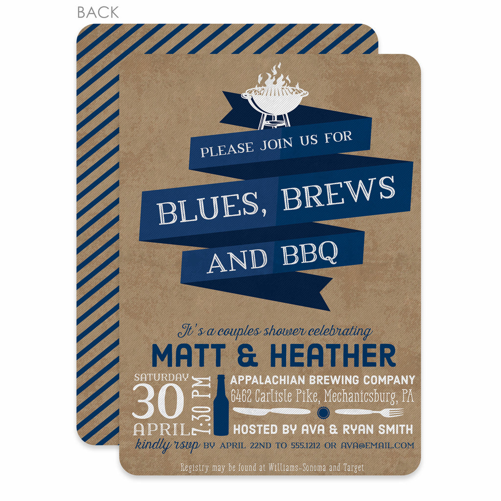 Blues, Brews, And Bbq Couples Shower Invitation