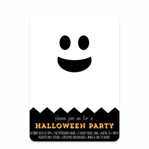 Chevron Ghost Halloween Invitations (Printed)