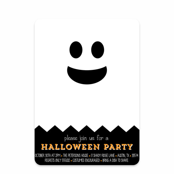 Chevron Ghost Halloween Invitations
