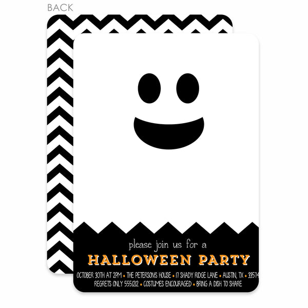 Modern ghost Halloween invitation | Pipsy.com