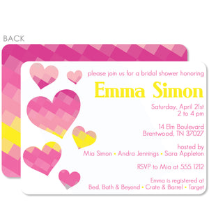Pixel Hearts Bridal Shower Invitation