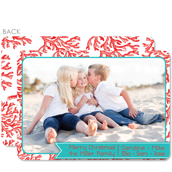 Red Coral Holiday Photo Card