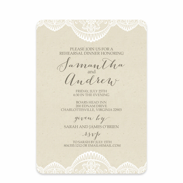 Bridal Lace Rehearsal Dinner Invitation