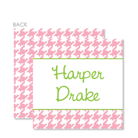 Pink Houndstooth Gift Tags