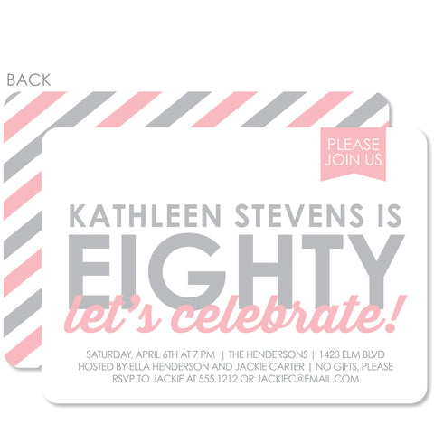 80 Years Celebration Birthday Party Invitation | Swanky Press | Pink