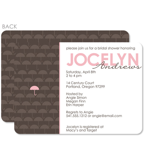 Umbrella Pink Baby Shower Invitation