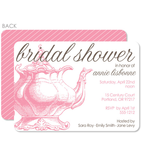 Vintage Teapot Bridal Shower Invitation