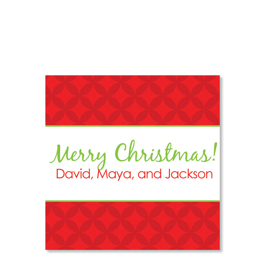 Modern Circles Red Gift Tags