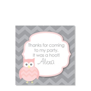 Owl Party Favor Tags, Pink