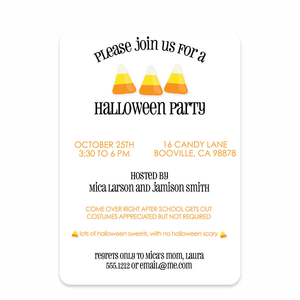 Candy Corn Invitation (Printed)