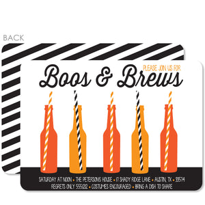 Boos and Brews Halloween Invitations | Beer Bottles with Straws | PIPSY.COM