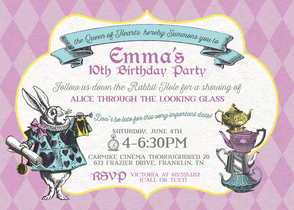 Alice in Wonderland Birthday Invitation, front image | Swanky Press