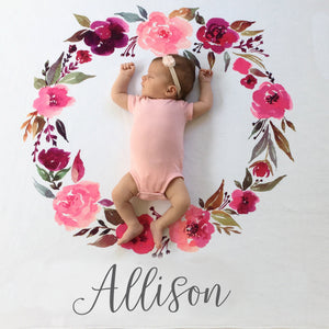 Watercolor Wreath Milestone Blanket | Pipsy.com