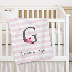 Monogramed Initial and name keepsake blanket | Floral | Pipsy.com
