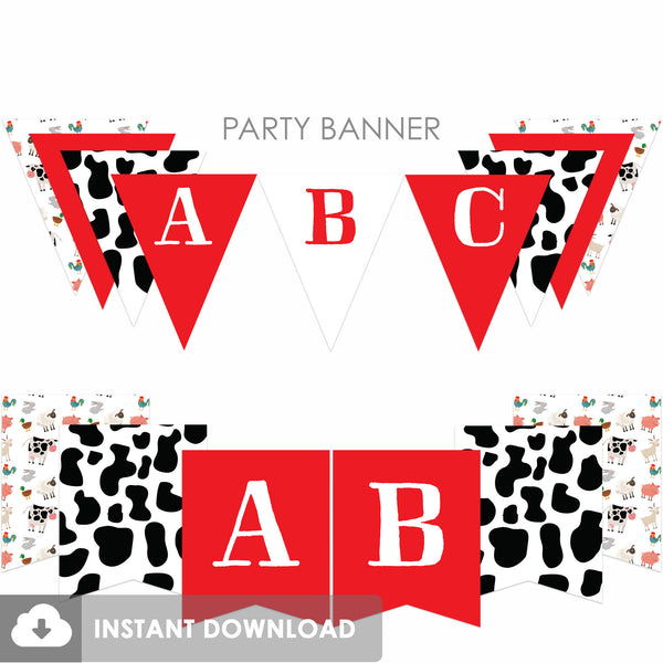Party Animals Farm Banner, Red (DIY Printable)