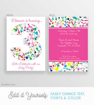 Art Paint Splatter Birthday Invitation (DIY Printable), Pink