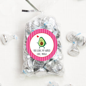 "You guac my world Valentine | Class party stickers | 2.5"" round with pink striped border 
