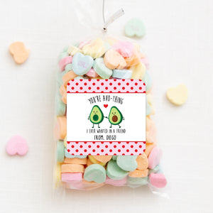 Avocado Friends | You're Avocado-thing I ever wanted | Valentine's Day square sticker for candy bag | Red and Pink |PIPSY.COM