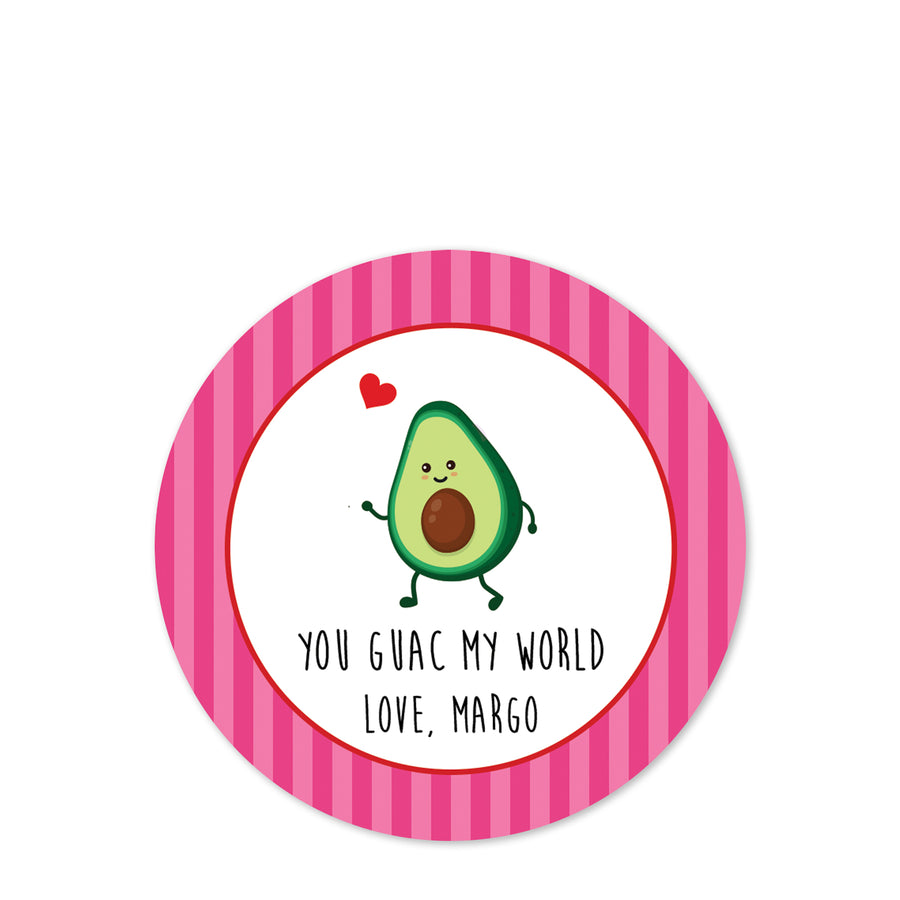 You guac my world Valentine | Class party stickers | Pipsy.com