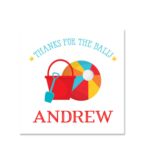 Beach Ball Party Square Favor Stickers (Printed)
