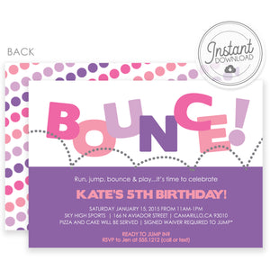 Bounce Birthday Invitation, DIY Instant Download Editable Templett, PIPSY.COM