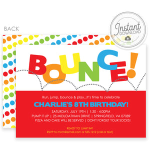 Bounce Templett Invitation | DIY Instant Download | Pipsy.com