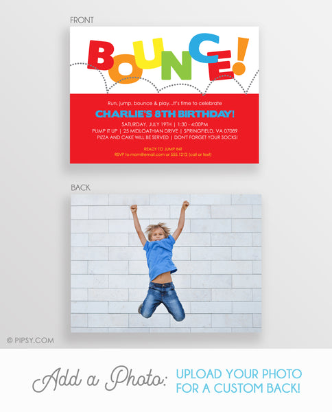 Bounce Birthday Invitations, Red (DIY Printable)