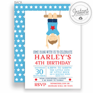 Boy Gymnastics Birthday Party Invitation, Editable DIY Instant Download, Templett, PIPSY.COM