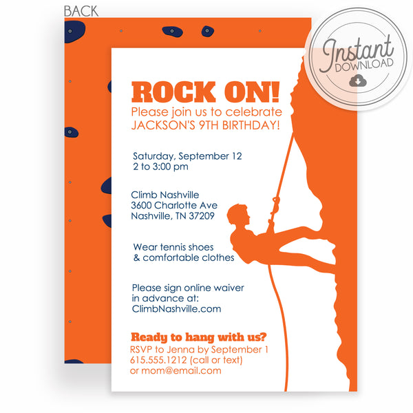 Boy Rock Climbing Birthday Invitation | DIY Instant Download | Templett Invitation | PIPSY.COM