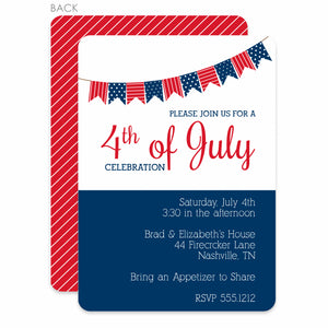 4TH of July Party Invitation, Pennant Bunting Design, PIPSY.COM