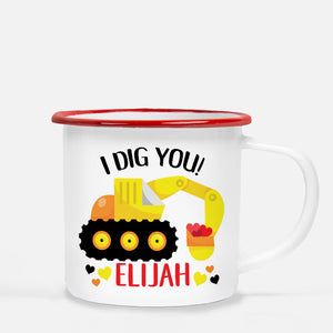 "White enamel 12 oz metal camp mug with red lip | Yellow and orange Backhoe scooping up red hearts | ""I Dig You"" 