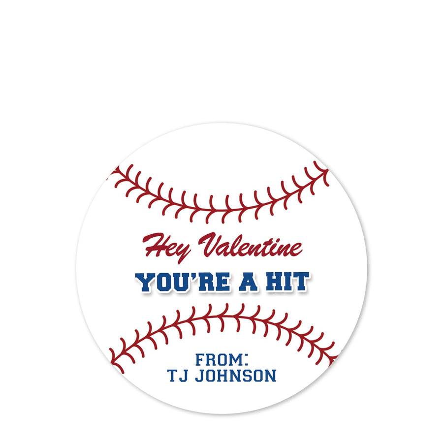 Baseball - You're a hit matte round stickers  | PIPSY.COM