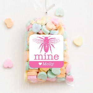 Bee Mine Valentine's Day Class Sticker | Pink and white square sticker for candy bags |PIPSY.COM