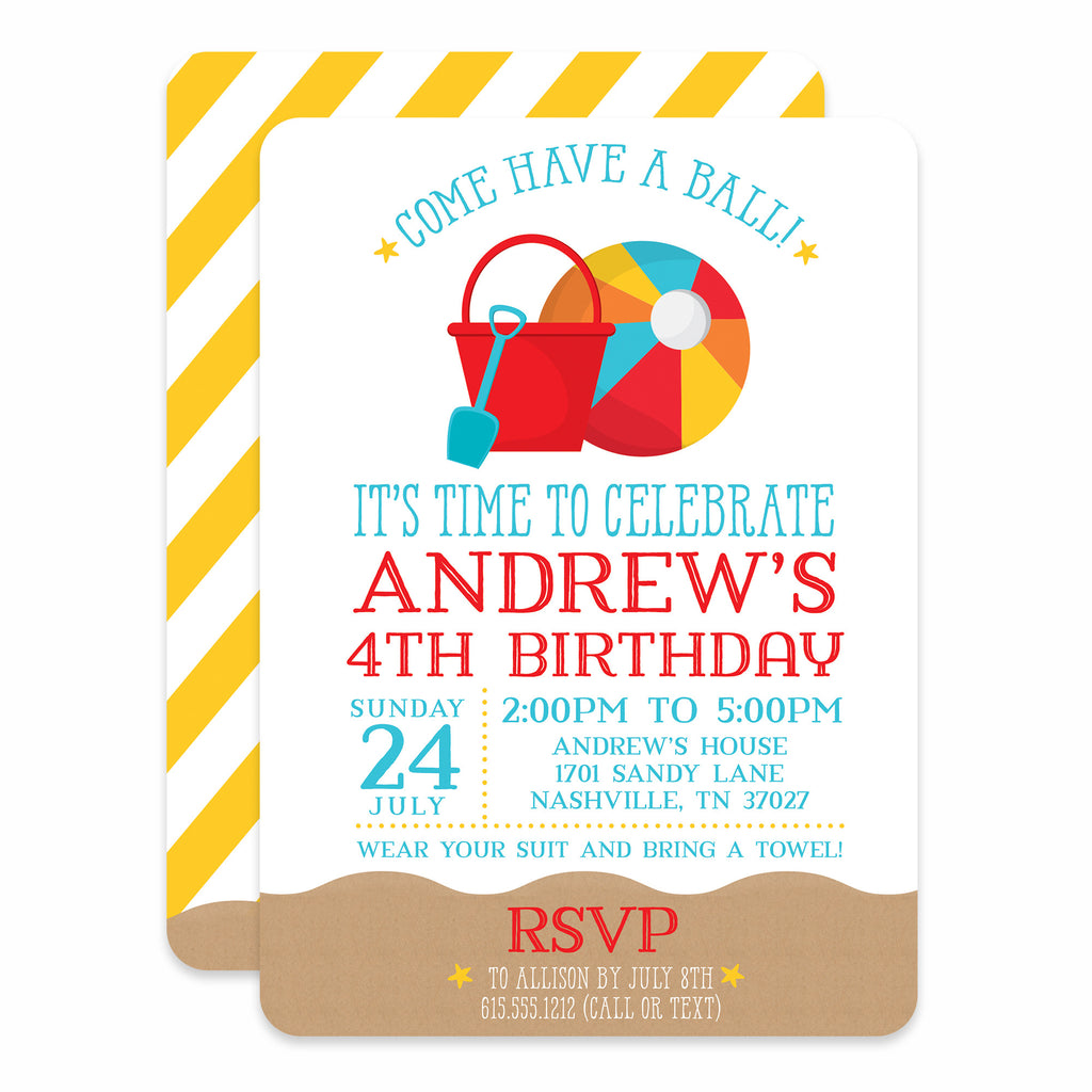 Beach Ball Birthday Invitations | Swanky Press