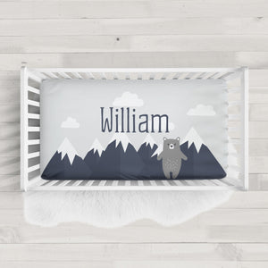Mountain with Bear fitted crib sheet | Pipsy.com