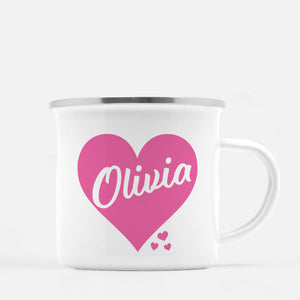 White enamel 12 oz metal camp mug with silver lip |  Big Pink Heart with name printed inside the heart | Personalized with child's name | Valentine's Day gift