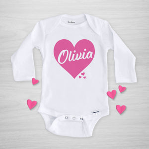 Pink Heart Valentine's Day Personalized Gerber Onesie, long sleeved, pipsy.com