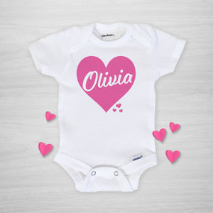 Pink Heart Valentine's Day Personalized Gerber Onesie, short sleeved, pipsy.com