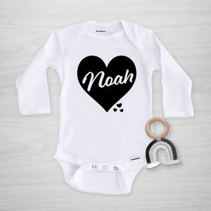 Valentine's Day Personalized Gerber Onesie, big black heart, long sleeved